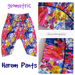 Girls Harem pants, rainbow pants, boho girl, geometric designer cotton